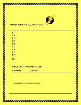 BASIC ELECTRICITY QUIZ, GRADES 5-7