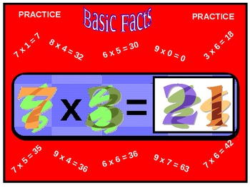 Basic Facts: Multiplication Flash Cards Practice (animated)
