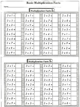Basic Facts Practice: Multiplication (44 worksheets)