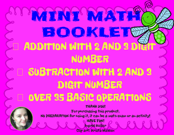 BASIC MATH OPERATIONS 2 AND 3 DIGIT NUMBER, NO PREP!