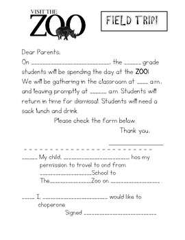 BASIC ZOO FIELD TRIP Permission FORM
