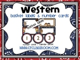 BASKET LABELS & NUMBER CARDS for a WESTERN CLASSROOM THEME
