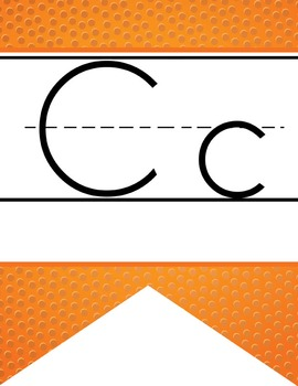 BASKETBALL - Alphabet  Banner, handwriting, A to Z, ABC print