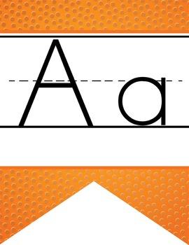 BASKETBALL - Alphabet  Banner, handwriting, A to Z, ABC print