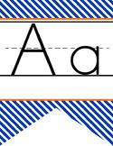 BASKETBALL - Alphabet Banner, handwriting, A to Z, ABC print font / STRIPES