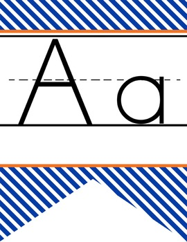 BASKETBALL - Alphabet Banner, handwriting, A to Z, ABC print font / STRIPES