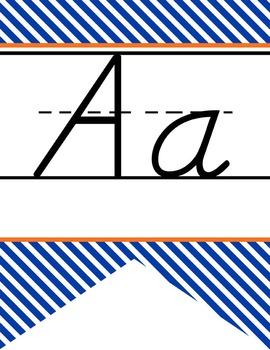 BASKETBALL - Alphabet  Banner, handwriting, A to Z, D'Nealian manuscript STRIPES