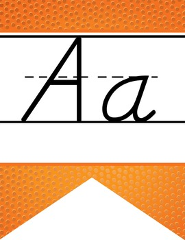BASKETBALL - Alphabet Flag Banner, handwriting, A to Z, D'Nealian manuscript