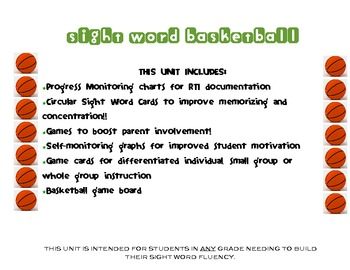 BASKETBALL SIGHT WORDS UNIT:2nd GRADE DOLCH WORDS RTI UNIT