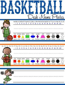 BASKETBALL - Student desk nameplates, you personalize