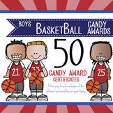 BASKETBALL - boys - Candy Award Certificates - editable MS Power Point