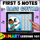 BASS GUITAR First 5 Notes BOOM CARDS™ Beginner Band Music