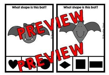 BAT ACTIVITIES KINDERGARTEN (HALLOWEEN SHAPES RECOGNITION CLIP CARDS)