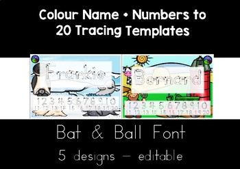 BAT & BALL (STICK)  FONT  colour name + numbers to 20 tracing templates EDITABLE