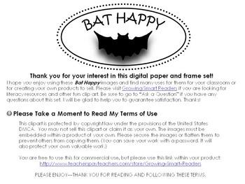 BAT Theme Digital Papers, Frames, Clip Art