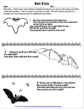 Bat Math,  Bat Activities,  Bat Projects  for 4th Grade