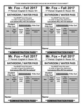 *PAINLESS* STUDENT-DRIVEN BATHROOM / WATER FOUNTAIN PASS SYSTEM