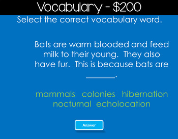 BATS Jeopardy Style Game Show