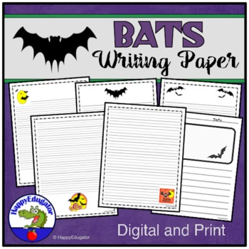 BATS Writing Paper - Lined Paper - Bats Theme