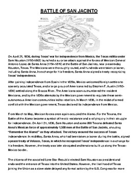 BATTLE OF SAN JACINTO Article and Assignment
