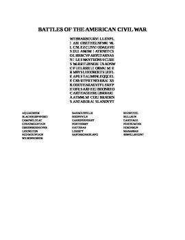 BATTLES OF THE AMERICAN CIVIL WAR WORD SEARCH