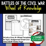 BATTLES OF THE CIVIL WAR Activity, Wheel of Knowledge Interactive Notebook