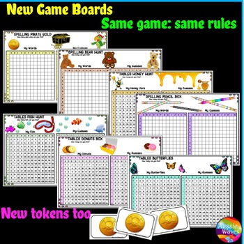 BATTLESHIP Printable Game boards for learning SPELLING and MULTIPLICATION TABLES