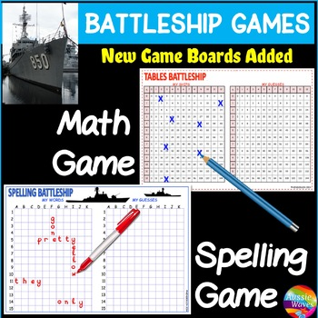 BATTLESHIP Printable Game boards learn SPELLING & TIMES TABLES