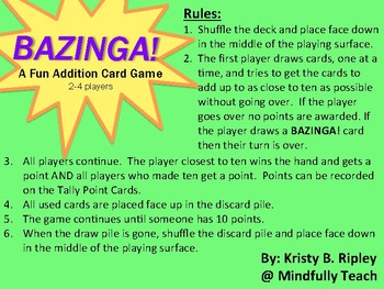 BAZINGA | A Fun Addition Card Game Perfect for Centers