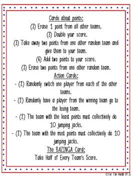 BAZINGA Cards Review Game