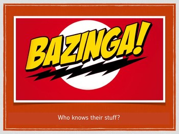 BAZINGA Review Game - Great graphics & includes video clip