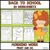 Back to School Worksheets for Morning Work - Print and Go