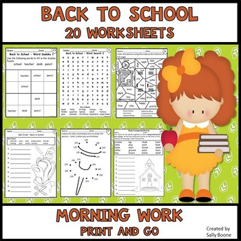 Back to School Activities Worksheets - Morning Work Print and Go