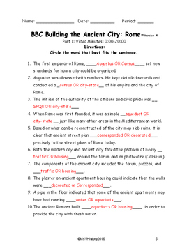 BBC Building the Ancient City: ROME Viewing Guide