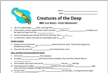 BBC Life - CREATURES OF THE DEEP - Video Questions Worksheet {Editable}