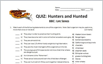BBC Life - HUNTERS AND HUNTED - Video Quiz {Editable}