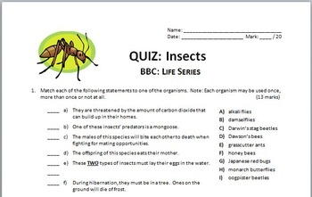BBC Life - INSECTS - Video Quiz {Editable}