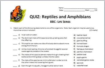 BBC Life - REPTILES AND AMPHIBIANS - Video Quiz {Editable}