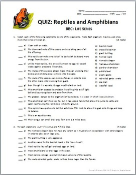 BBC Life - REPTILES AND AMPHIBIANS - Video Worksheet & Quiz Combo {Editable}