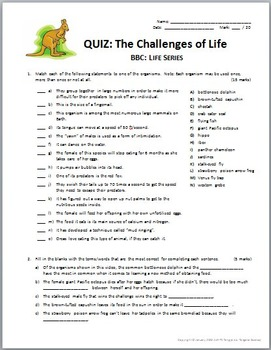 BBC Life - THE CHALLENGES OF LIFE - Video Quiz {Editable}