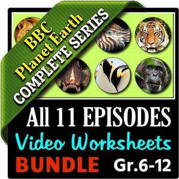 Planet Earth - All 11 Episodes - Video Worksheets Bundle {Editable}