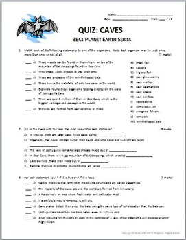 Planet Earth - CAVES - Video Questions & Quiz Combo {Editable}