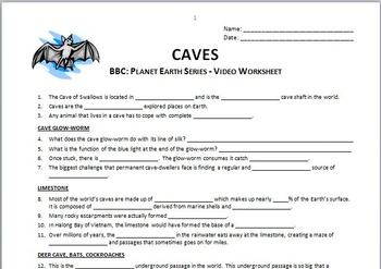 Planet Earth - CAVES - Video Questions Worksheet {Editable}