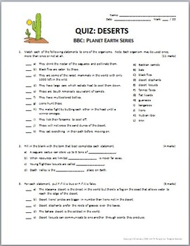 planet earth deserts video questions quiz combo editable. Black Bedroom Furniture Sets. Home Design Ideas