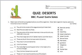 Planet Earth - DESERTS - Video Quiz {Editable}