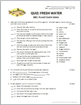 Planet Earth - FRESH WATER - Video Questions & Quiz Combo {Editable}