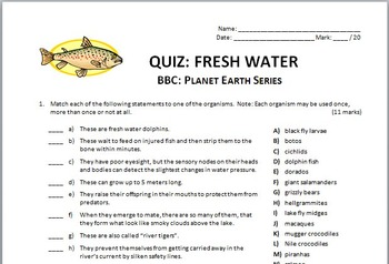 Planet Earth - FRESH WATER - Video Quiz {Editable}