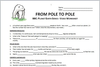 Planet Earth - FROM POLE TO POLE - Video Worksheet {Editable}