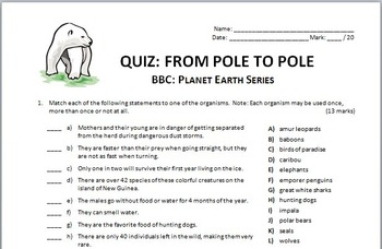 Planet Earth - FROM POLE TO POLE - Video Quiz {Editable}