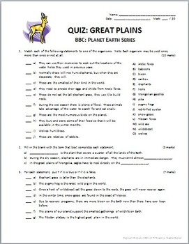 Planet Earth - GREAT PLAINS - Video Questions & Quiz Combo - {Editable}